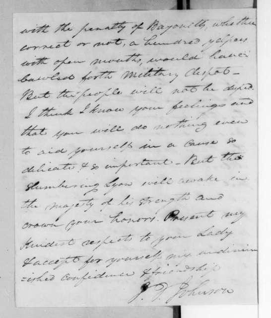 John Telemachus Johnson to Andrew Jackson, October 20, 1825