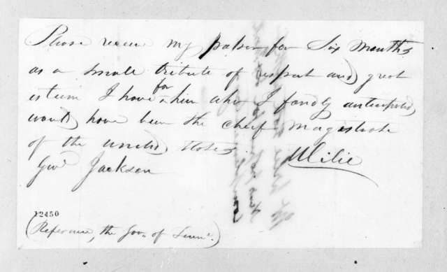 John Wilie to Andrew Jackson