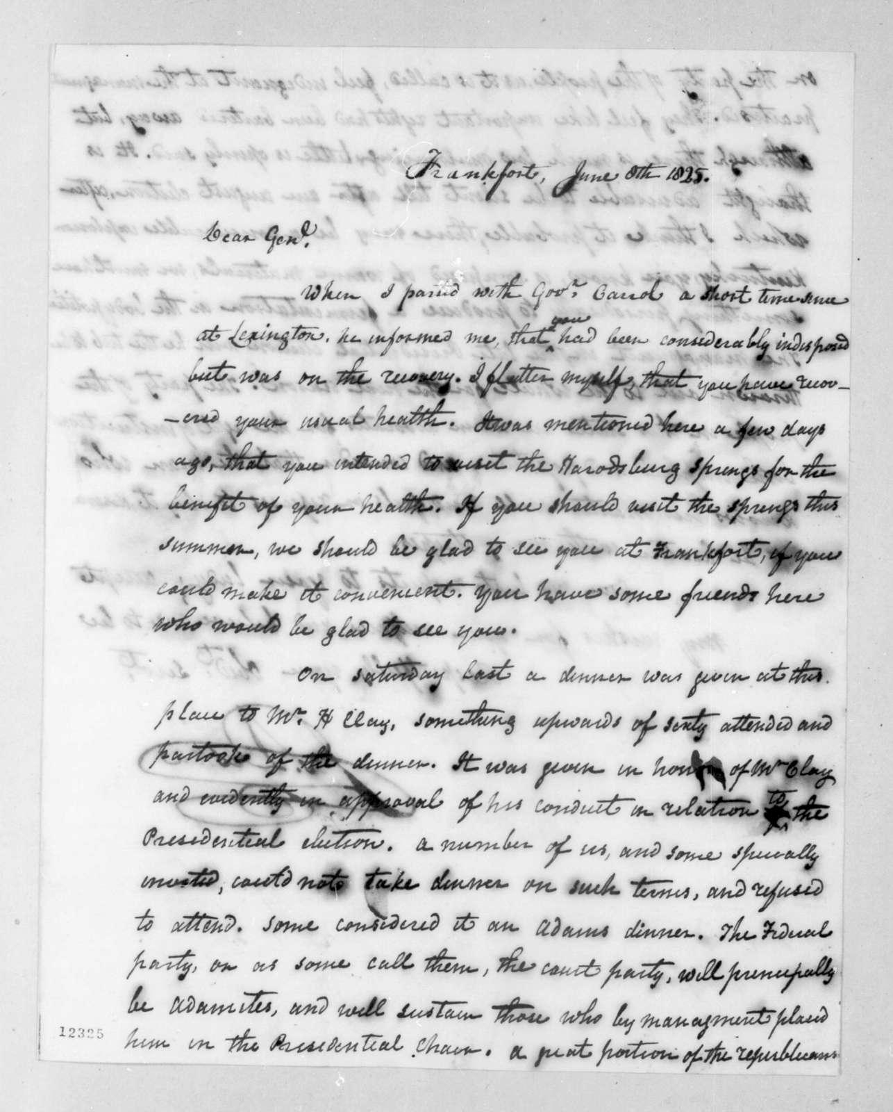 Joseph Desha to Andrew Jackson, June 8, 1825