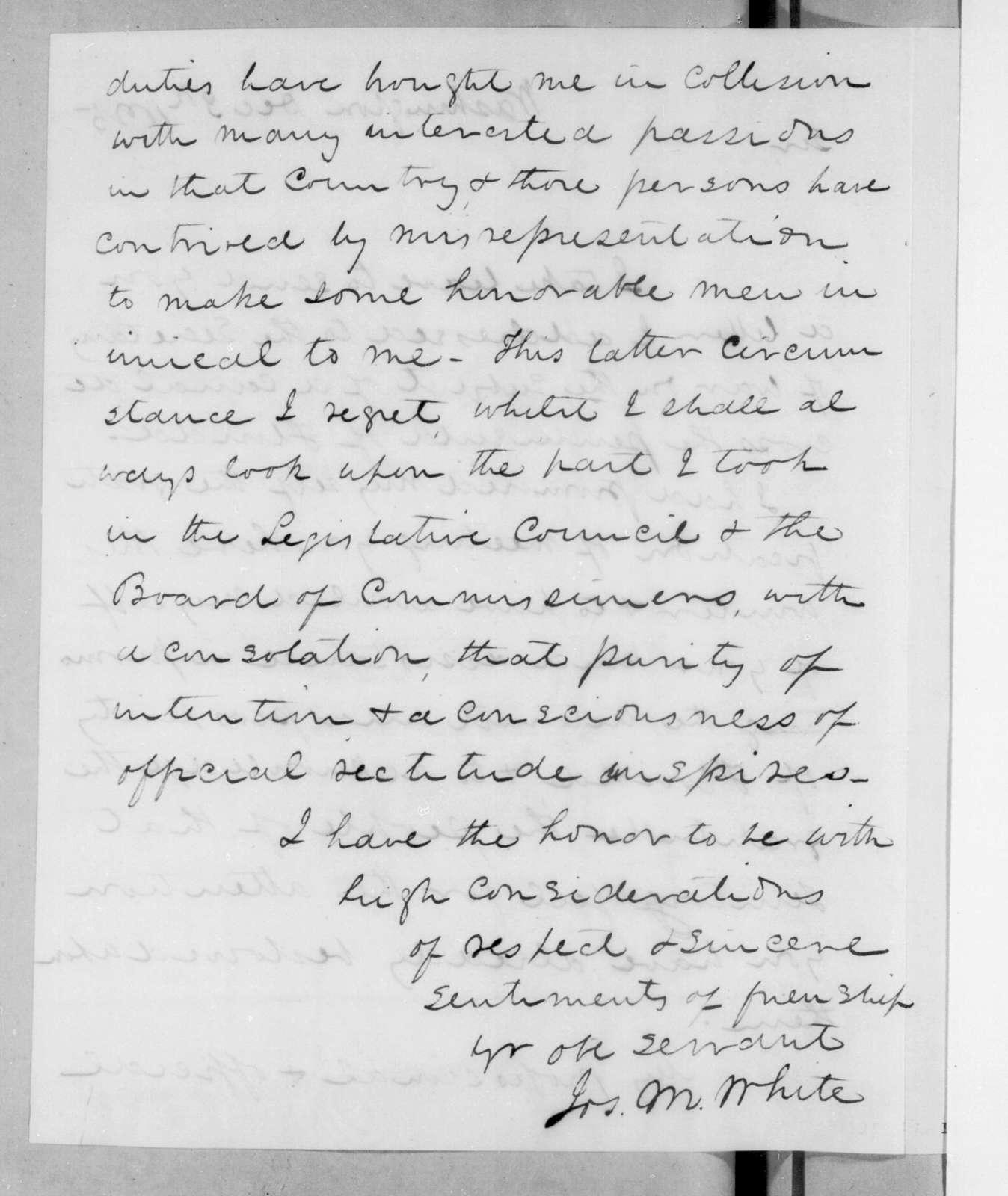 Joseph Maunsel White to Andrew Jackson, December 3, 1825