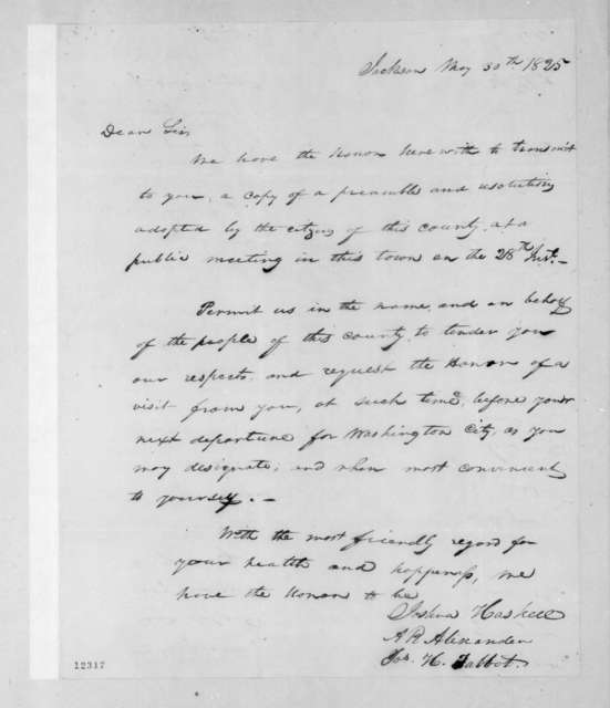 Joshua Haskell et al. to Andrew Jackson, May 30, 1825
