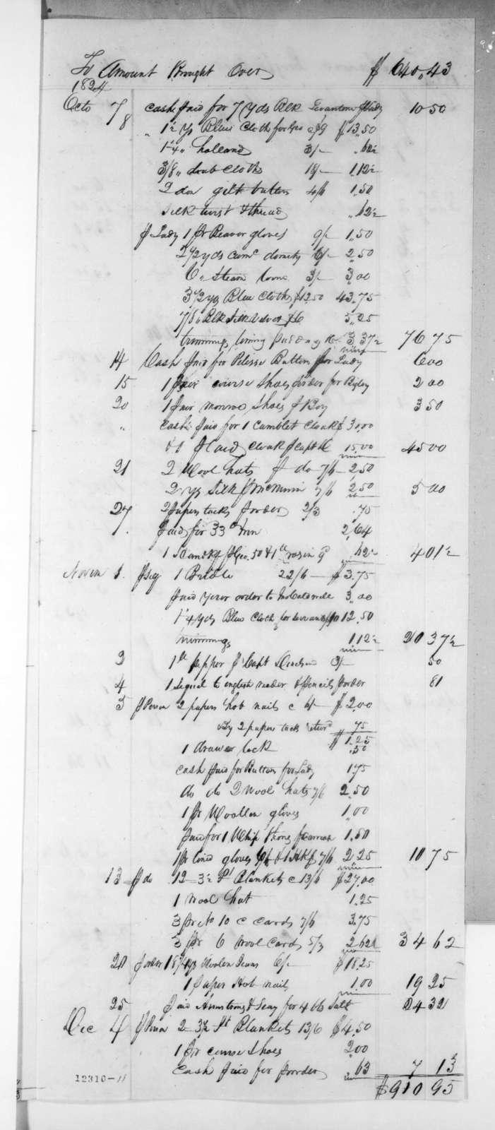 Josiah Nichol to Andrew Jackson, April 27, 1825