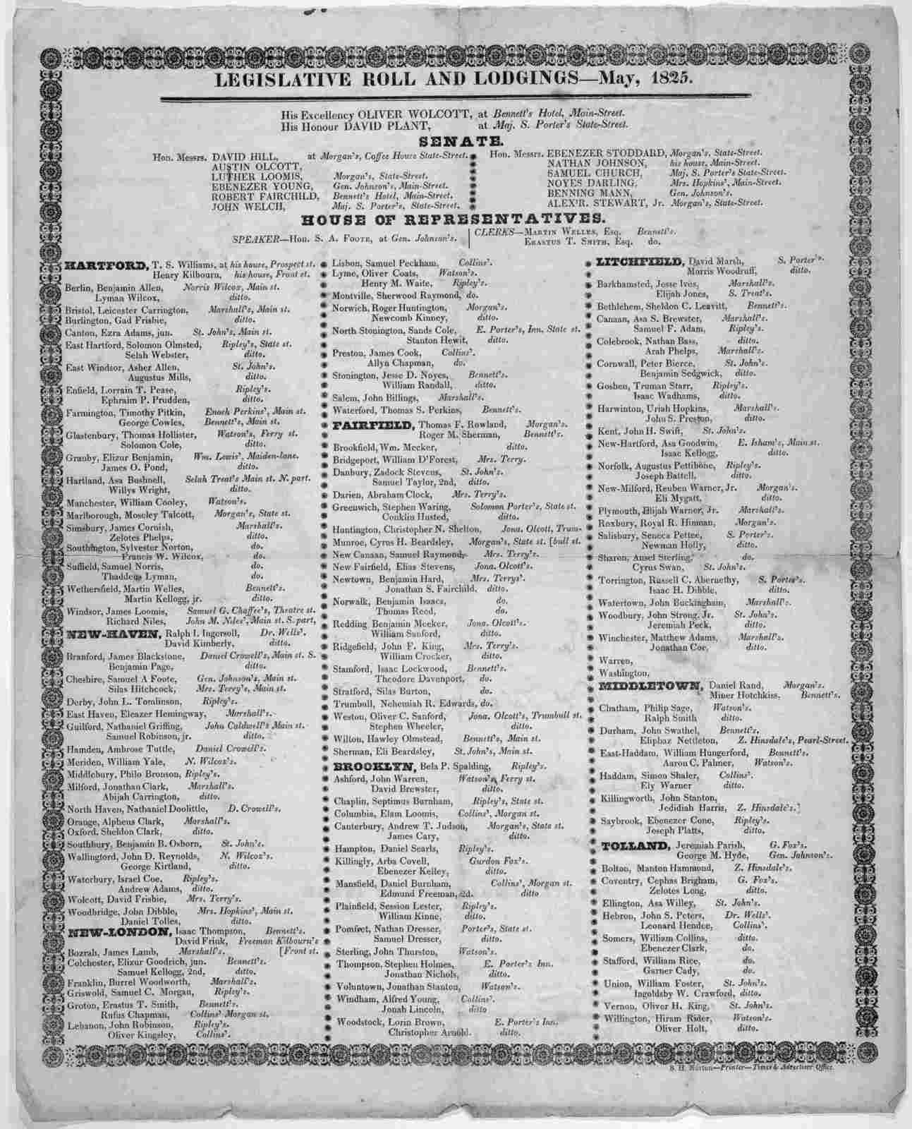Legislative roll and lodgings -- May, 1825. B. H. Norton -- Printer -- Times & Advertiser Office. [Hartford, Conn.?].