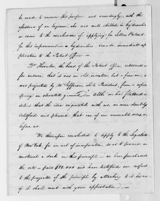 Lewis M. Wiss to Thomas Jefferson, November 17, 1825, with Plans