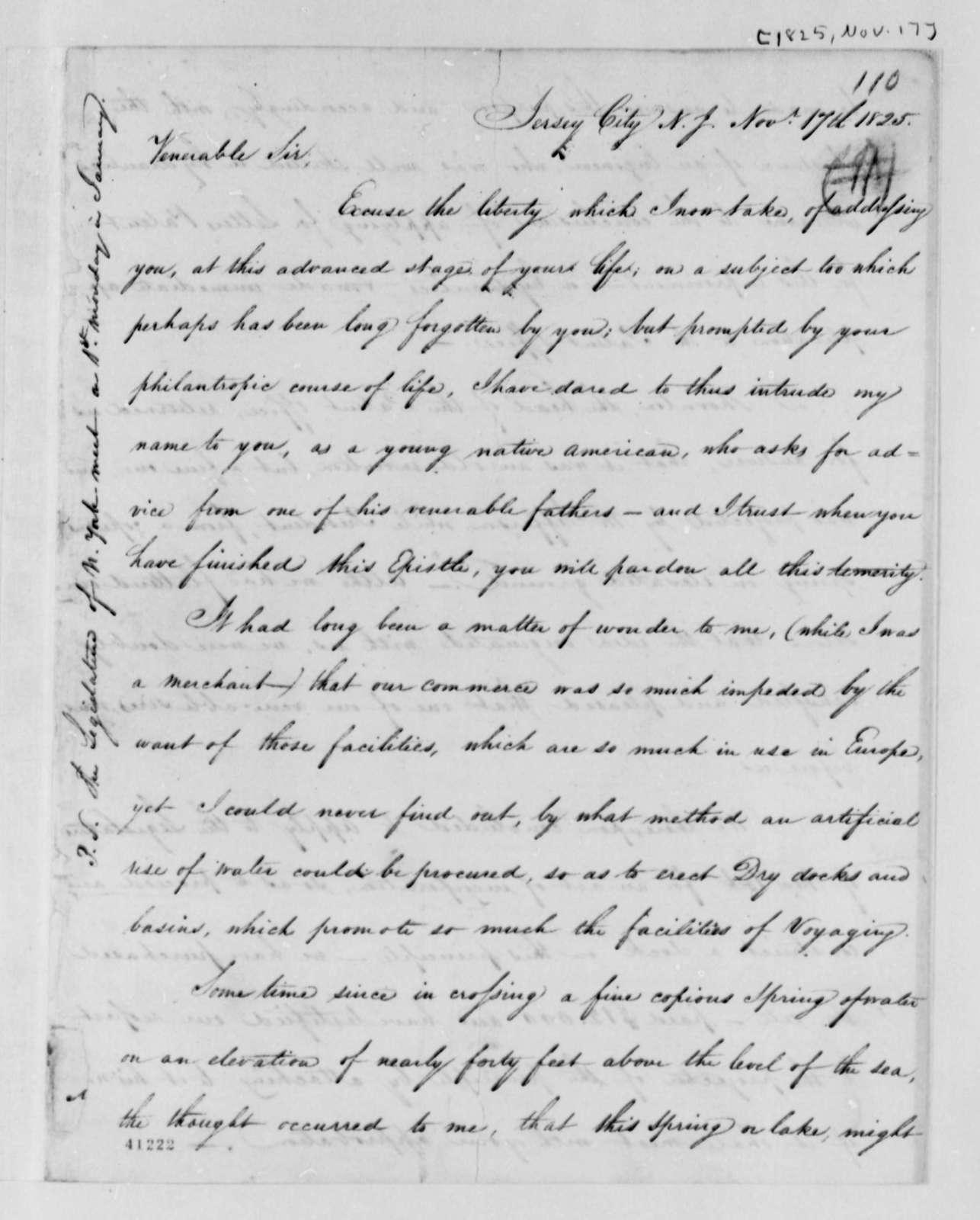 Lewis M. Wiss to Thomas Jefferson, November 17, 1825, with Plans