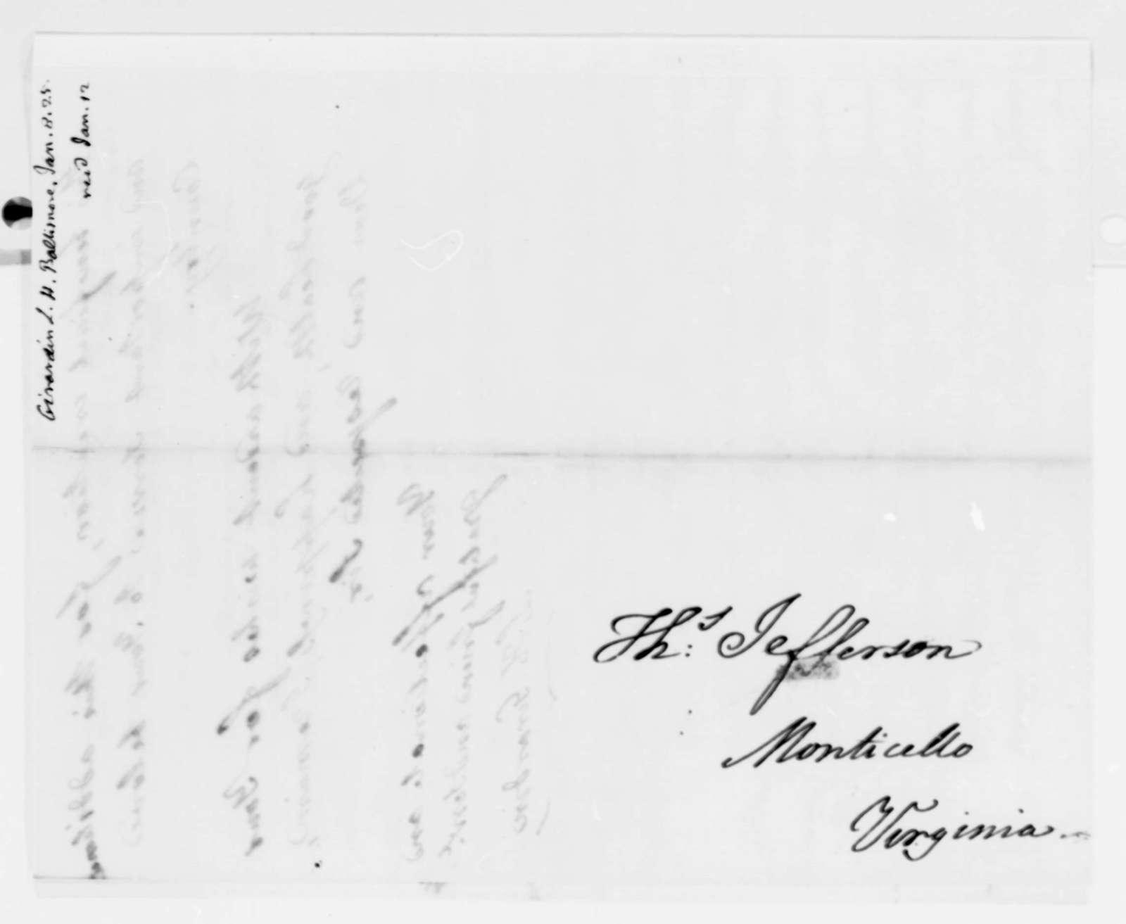 Louis H. Girardin to Thomas Jefferson, January 8, 1825