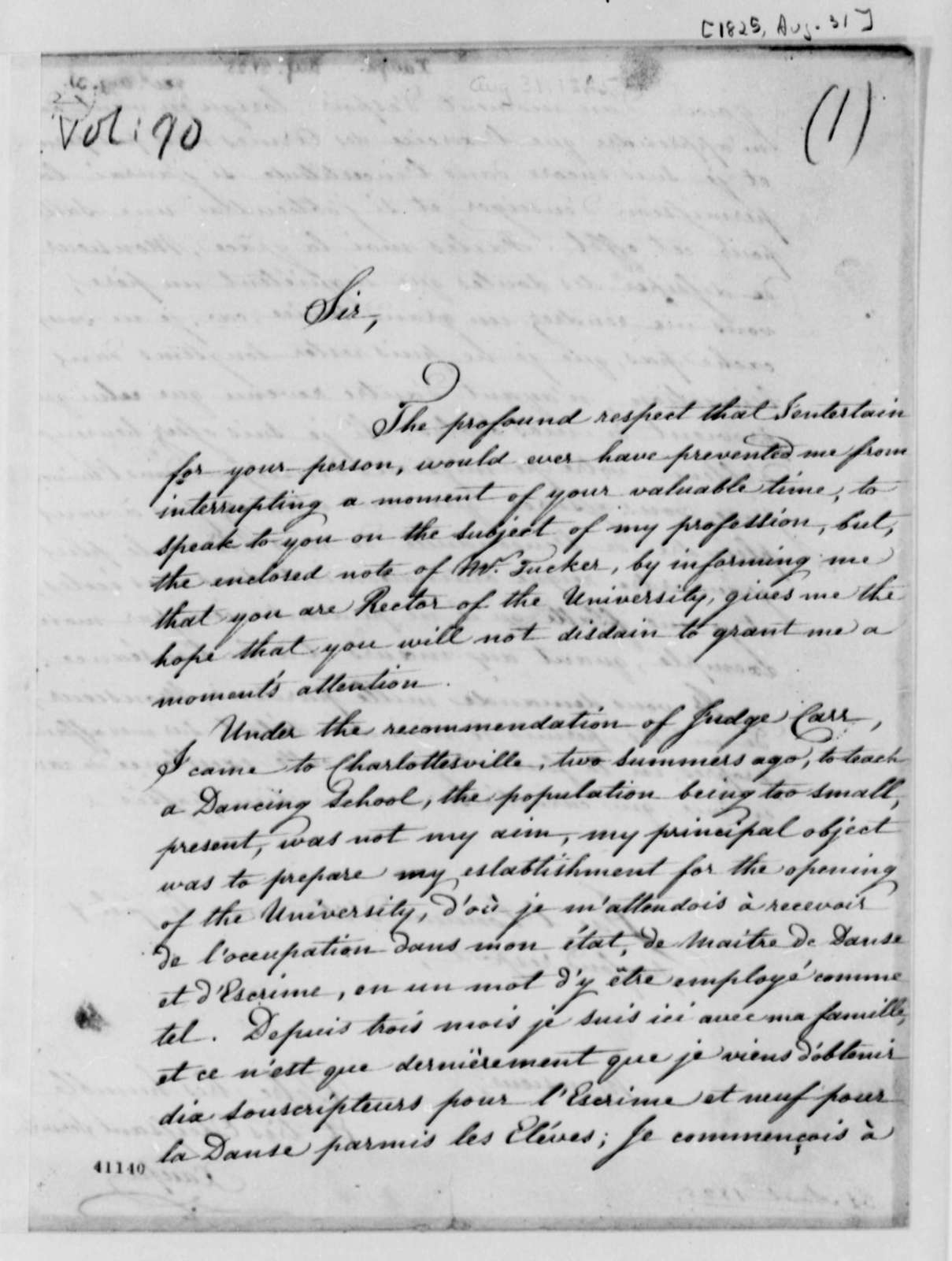 Louis Xaupe to Thomas Jefferson, August 31, 1825, in French and English