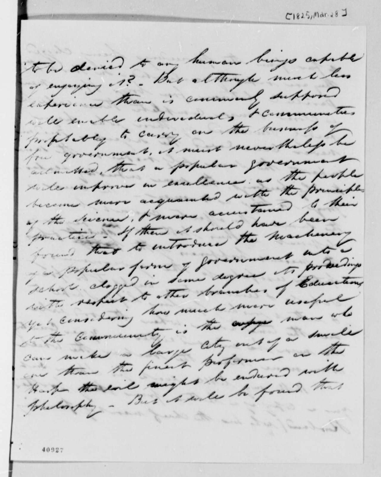M. D. Hill to Thomas Jefferson, March 28, 1825