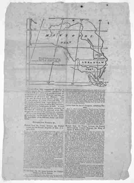 """[Map] The preceding map comprehends all what is usually called the Louisiana purchase"""" by Thomas Jefferson which is at present divided into the states of Louisiana, Missouri, and into the territories of Arkansaw and Missouri ... Providence, Patr"""