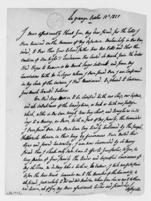 Marie Joseph Paul Yves Roch Gilbert du Motier, Marquis de Lafayette to Martha Randolph, October 12, 1825