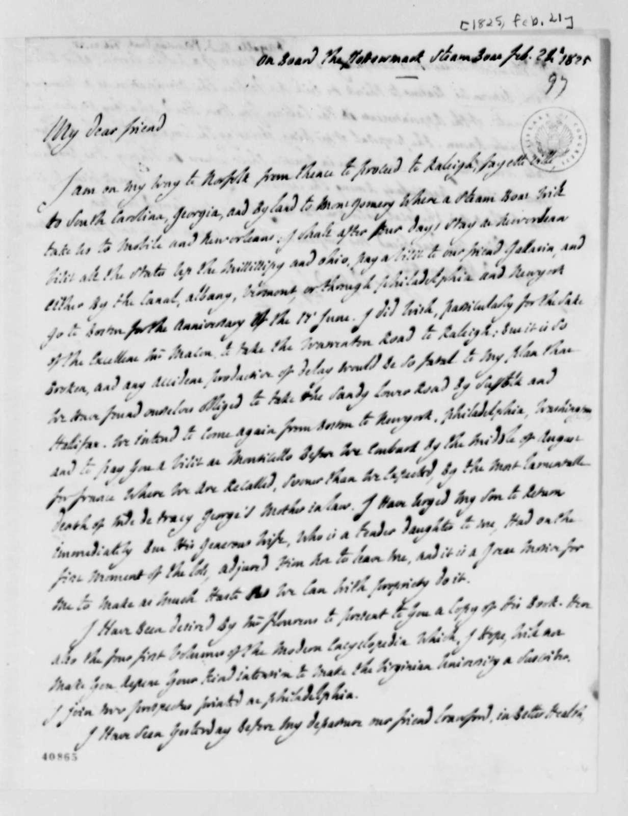 Marie Joseph Paul Yves Roch Gilbert du Motier, Marquis de Lafayette to Thomas Jefferson, February 21, 1825