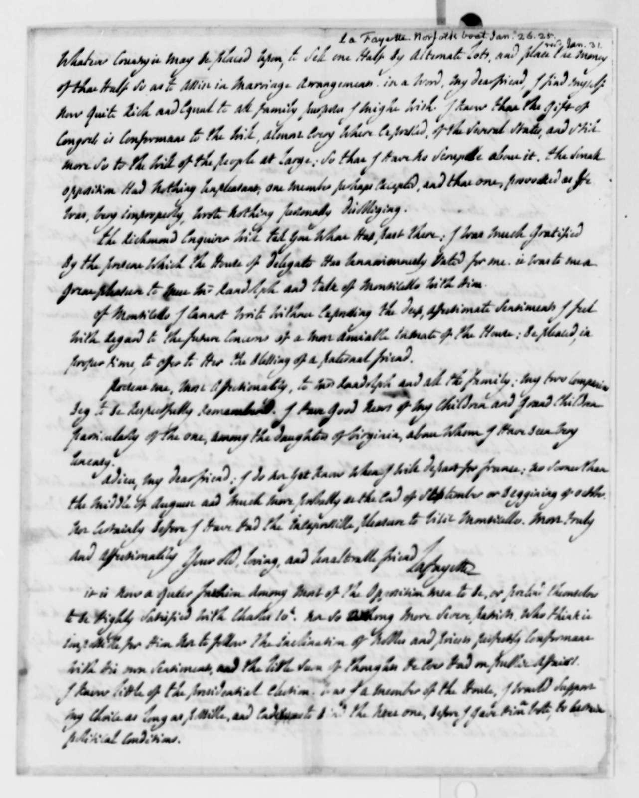 Marie Joseph Paul Yves Roch Gilbert du Motier, Marquis de Lafayette to Thomas Jefferson, January 26, 1825