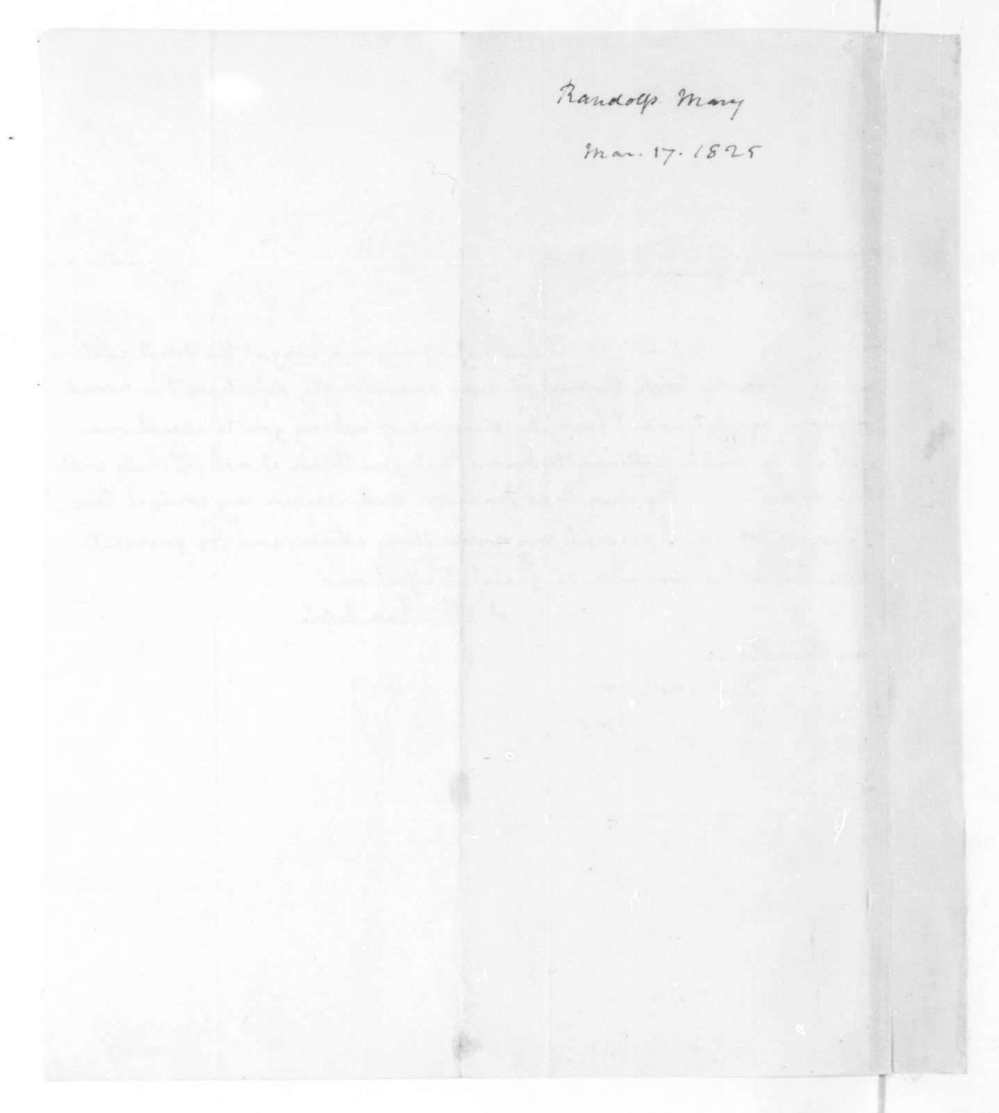 Mary Randolph to James Madison, March 17, 1825.
