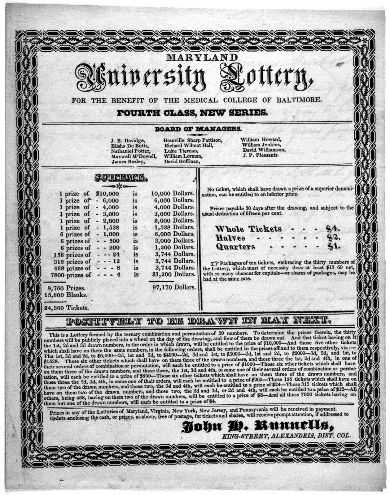 Maryland University lottery, for the benefit of the medical college of Baltimore Fourth class, New series. [Alexandria, 1825].