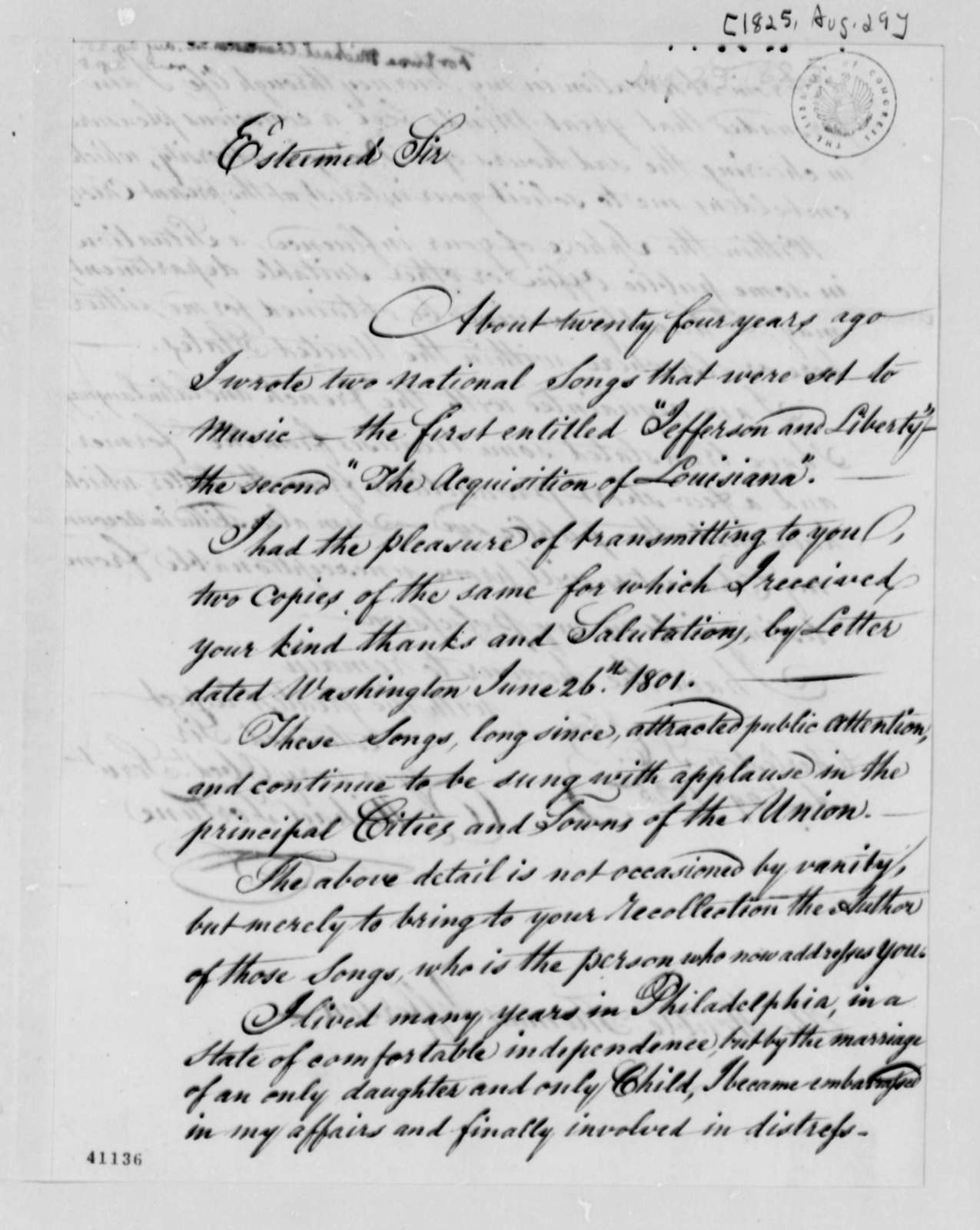 Michael Fortune to Thomas Jefferson, August 29, 1825