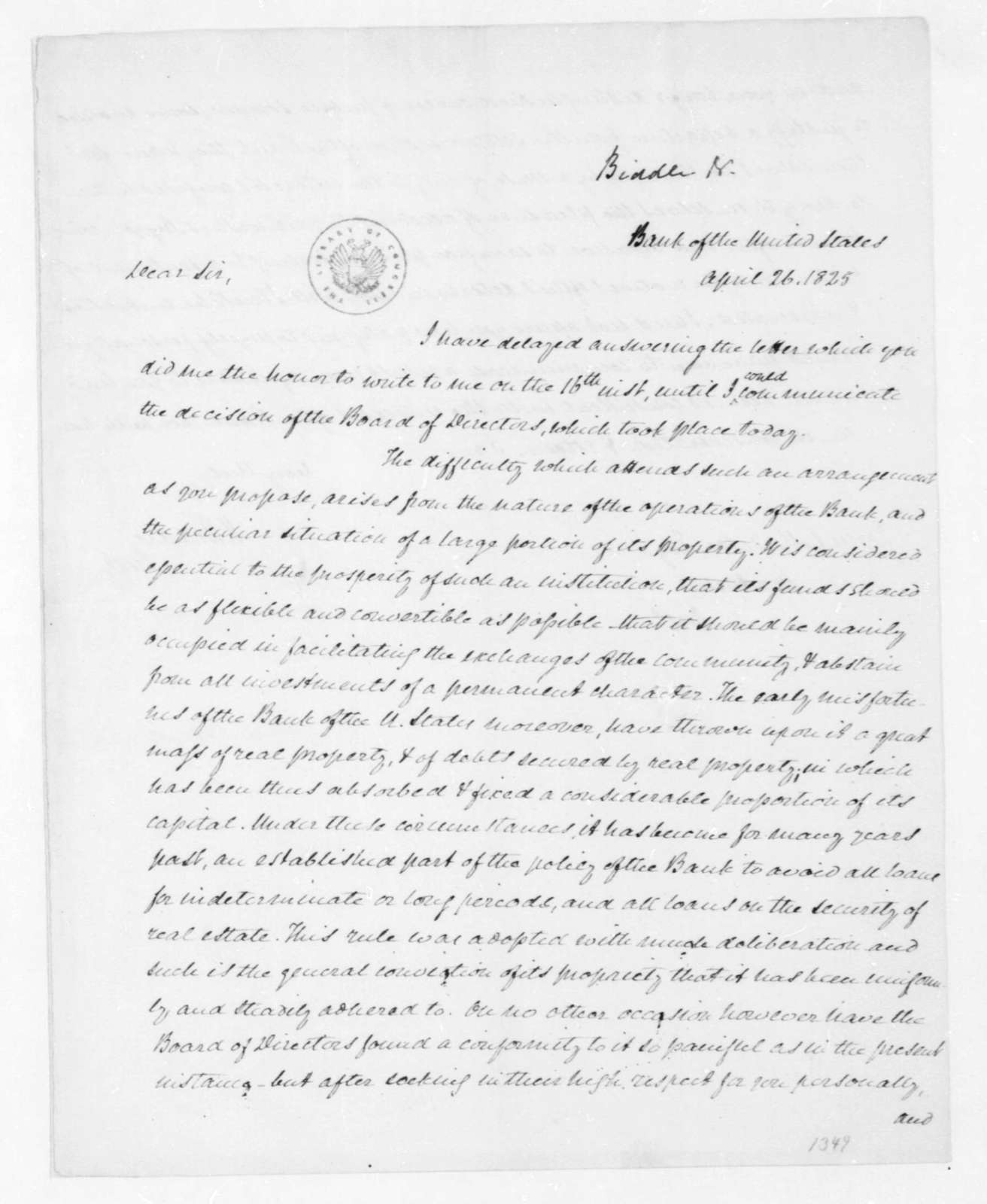 Nicholas Biddle to James Madison, April 26, 1825.