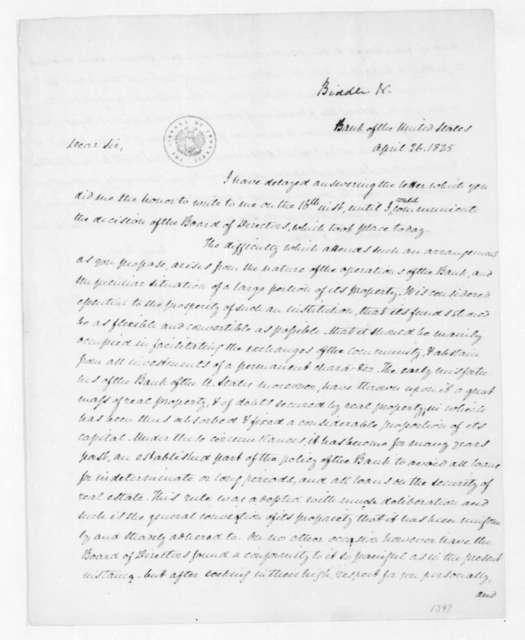 Nicholas Biddle to James Madison, April 26, 1825.