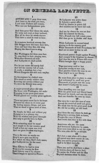 On General Lafayette [By Thomas Shaw of Standish, Maine] [1825?].