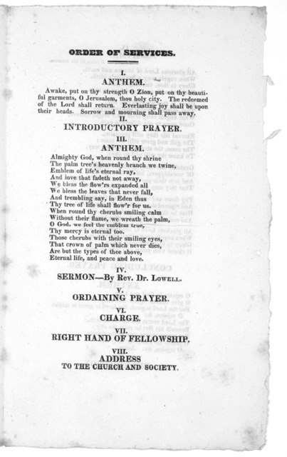 Order of services at the ordination of Mr. Samuel Barrett, as pastor of the twelfth Congregational church. Boston, February 9, 1825. Boston: Printed at the office of W. W. Clapp. 1825.