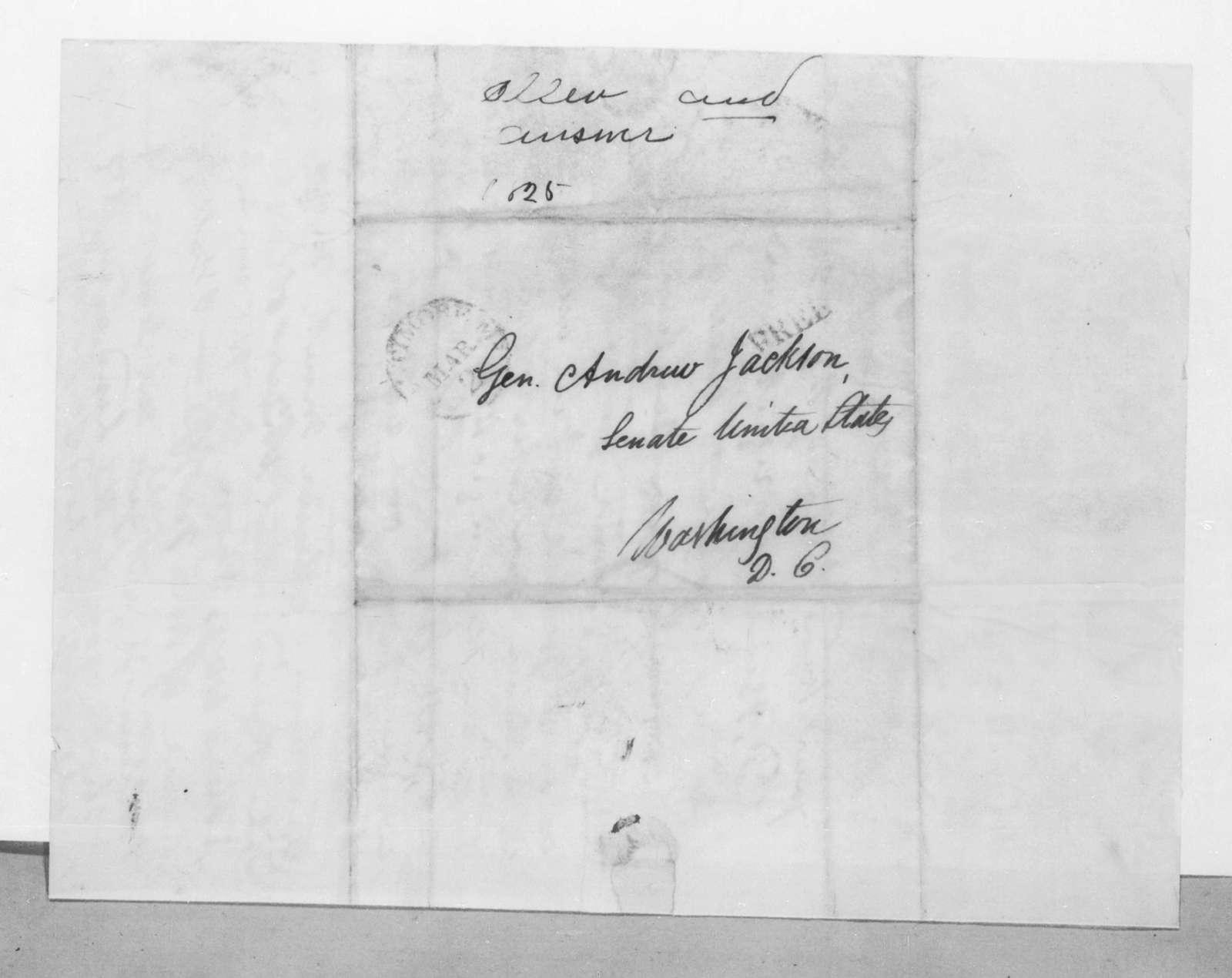 Paul Allen to Andrew Jackson, March 1, 1825