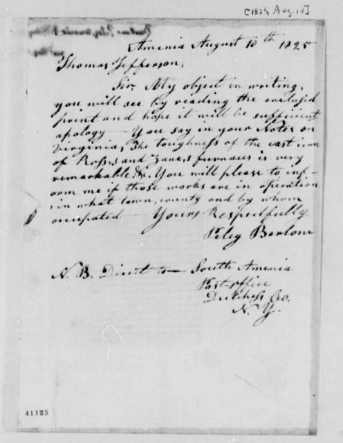 Peleg Barlow to Thomas Jefferson, August 10, 1825, with Newspaper Clipping on Cast Iron Plow