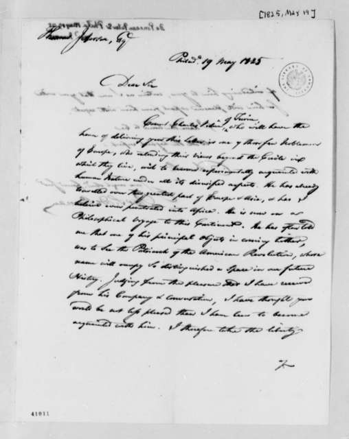 Peter S. du Ponceau to Thomas Jefferson, May 19, 1825