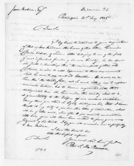 Peter S. Duponceau to James Madison, May 21, 1825.