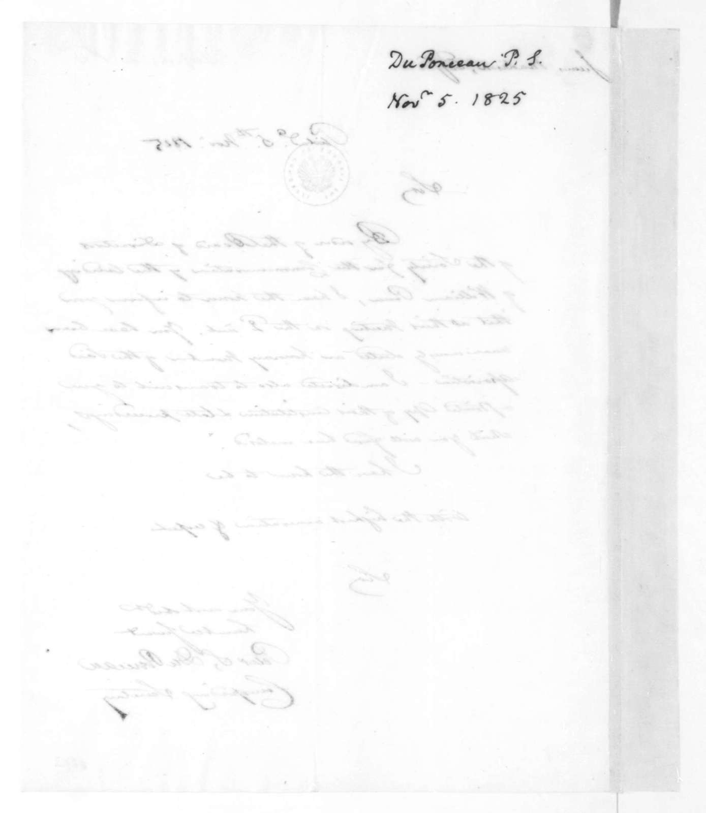 Peter S. Duponceau to James Madison, November 5, 1825.
