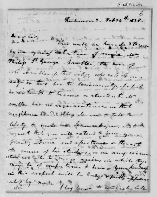 Philip N. Nicholas to Thomas Jefferson, February 24, 1825