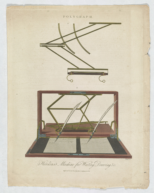 Polygraph. Hawkins's machine for writing, drawing &c. / J. Pass sc.