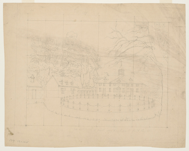 [Preliminary sketch, with grid, of the driveway in front of Mount Vernon]