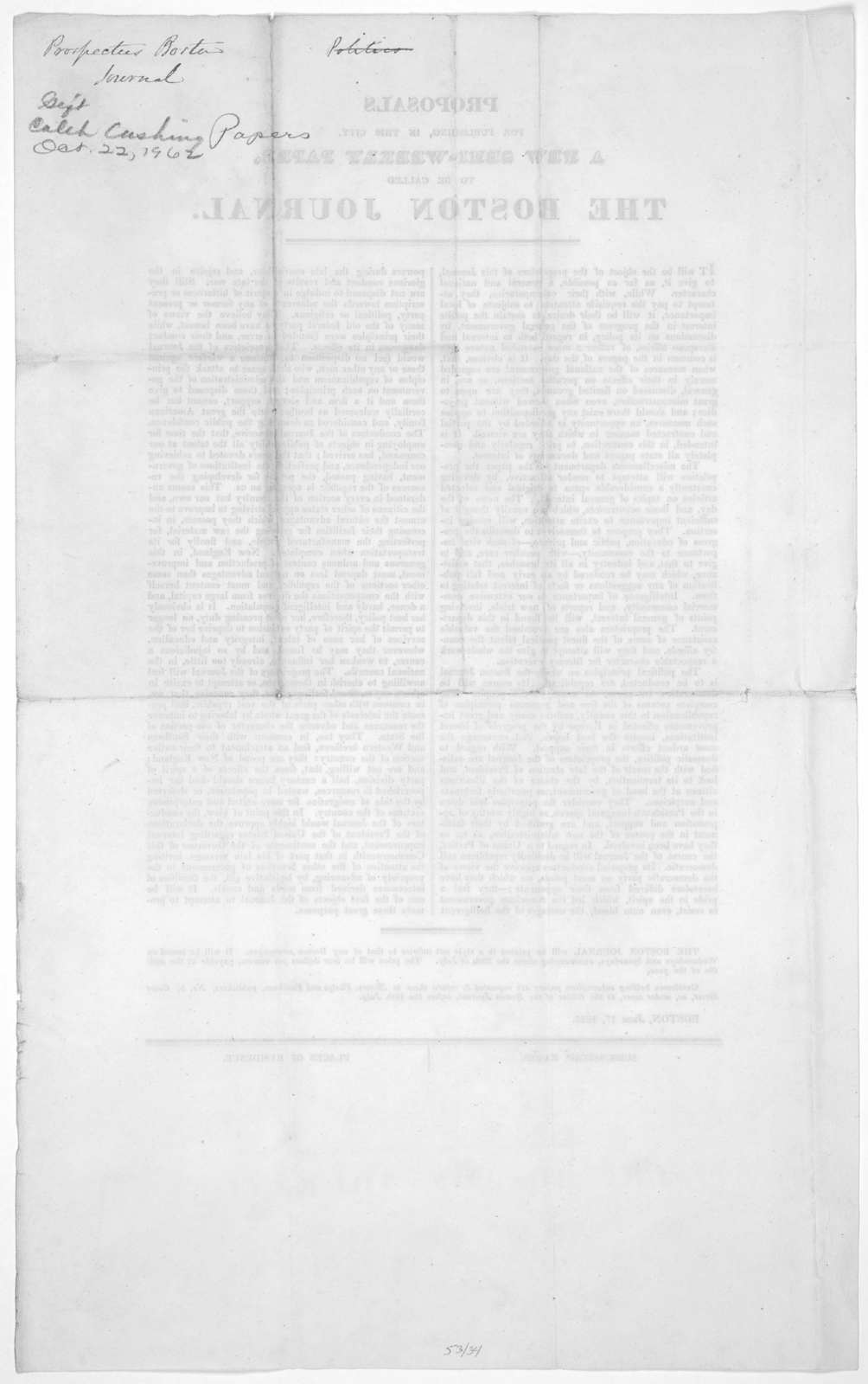 Proposals for publishing, in this city, a new semi-weekly paper, to be called The Boston Journal. Boston, 1825.