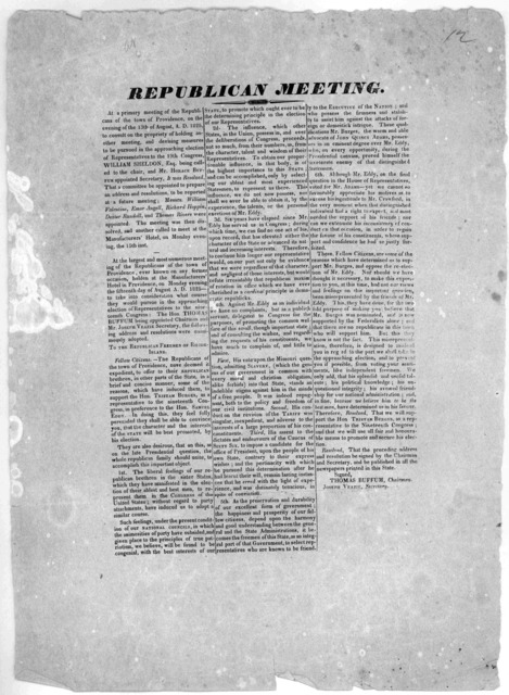Republican meeting. At a primary meeting of the Republicans of the town of Providence, on the evening of the 13th of August, A. D. 1825 to consult on the propriety of holding another meeting, and devosing measures to be pursued in the approachin