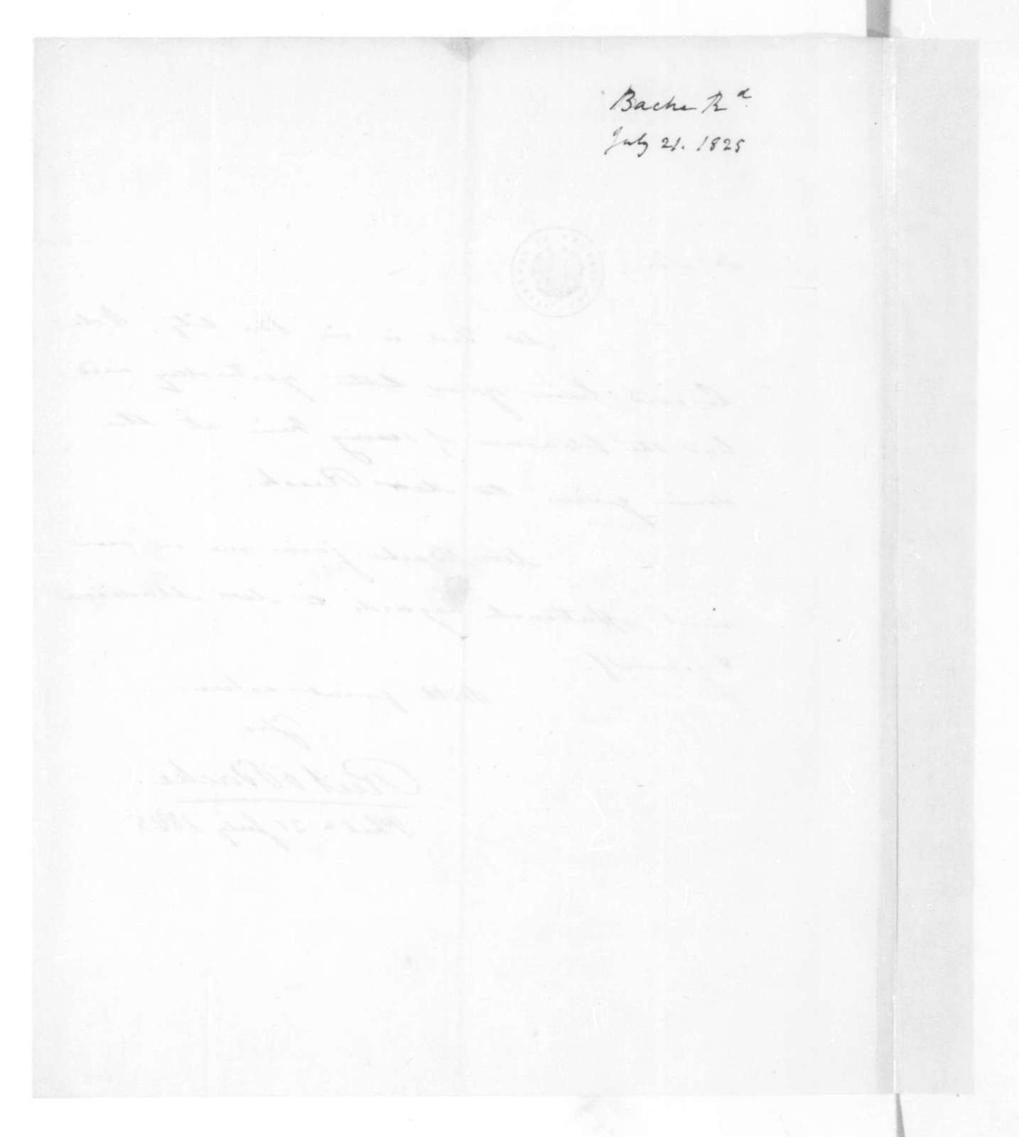 Richard Bache to James Madison, July 21, 1825.