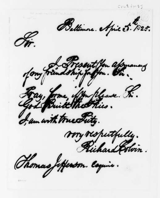 Richard Colvin to Thomas Jefferson, April 5, 1825