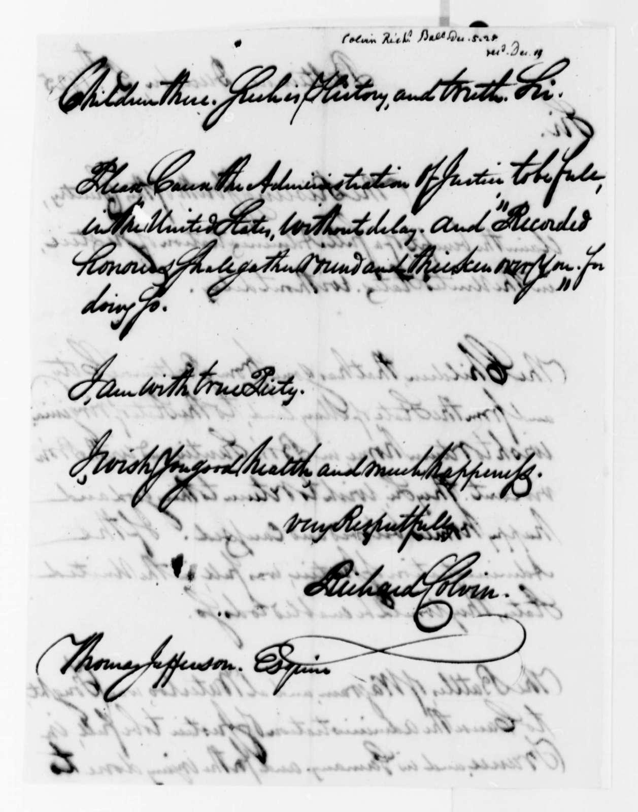 Richard Colvin to Thomas Jefferson, December 5, 1825
