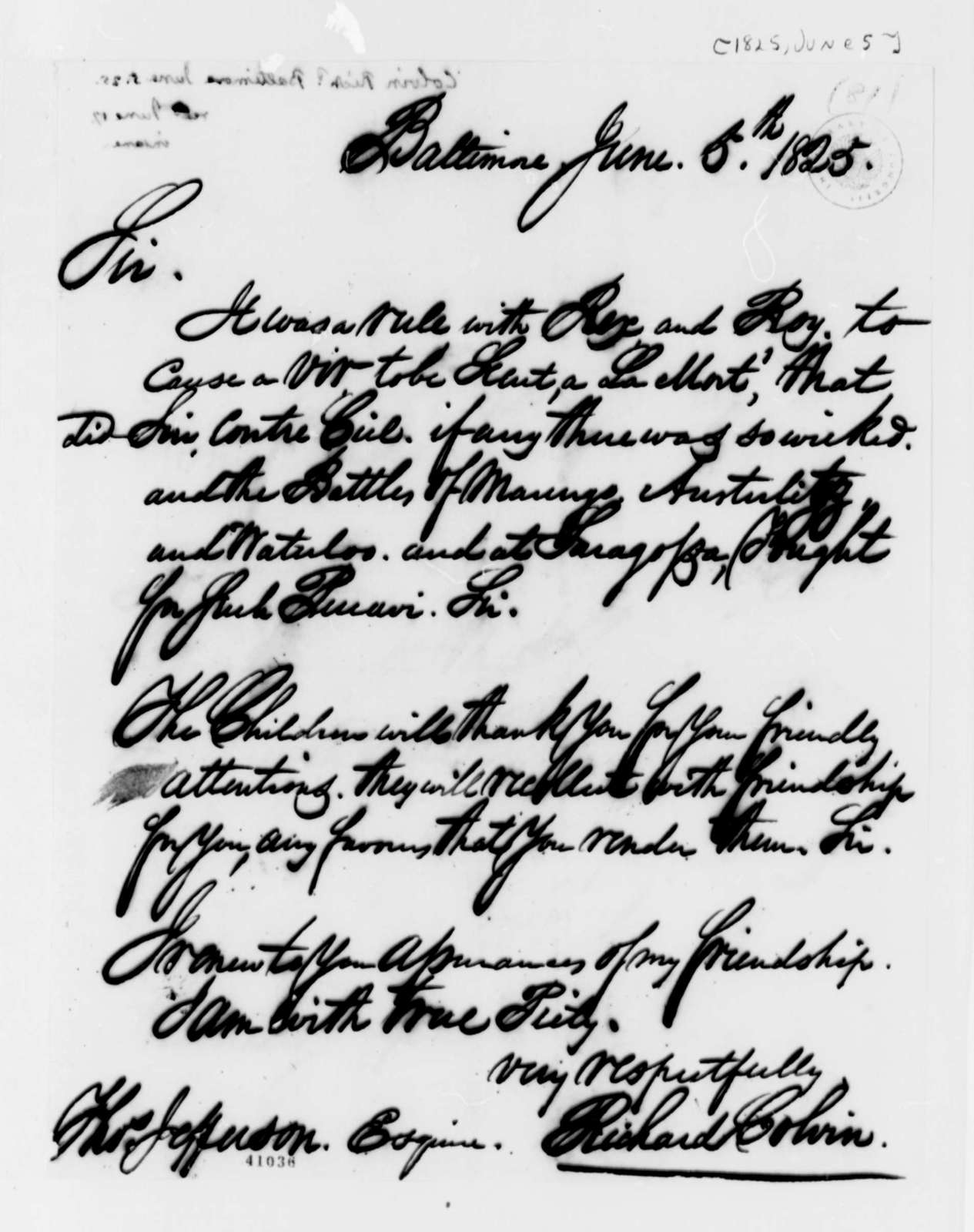 Richard Colvin to Thomas Jefferson, June 5, 1825