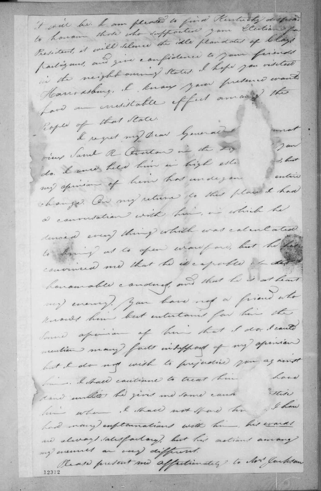 Richard Keith Call to Andrew Jackson, September 23, 1825