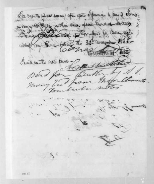 Robert Butler to James McCulley, November 26, 1825