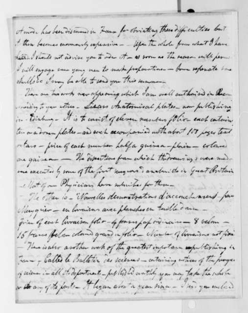 Robert Greenhow to Thomas Jefferson, April 23, 1825, with Title Page, Bulletin des Sciences, Mathematiques, Physiques et Chimiques