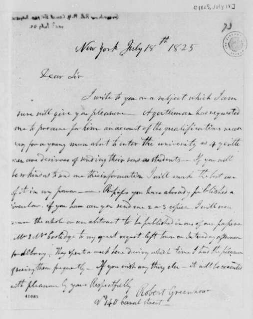 Robert Greenhow to Thomas Jefferson, July 18, 1825