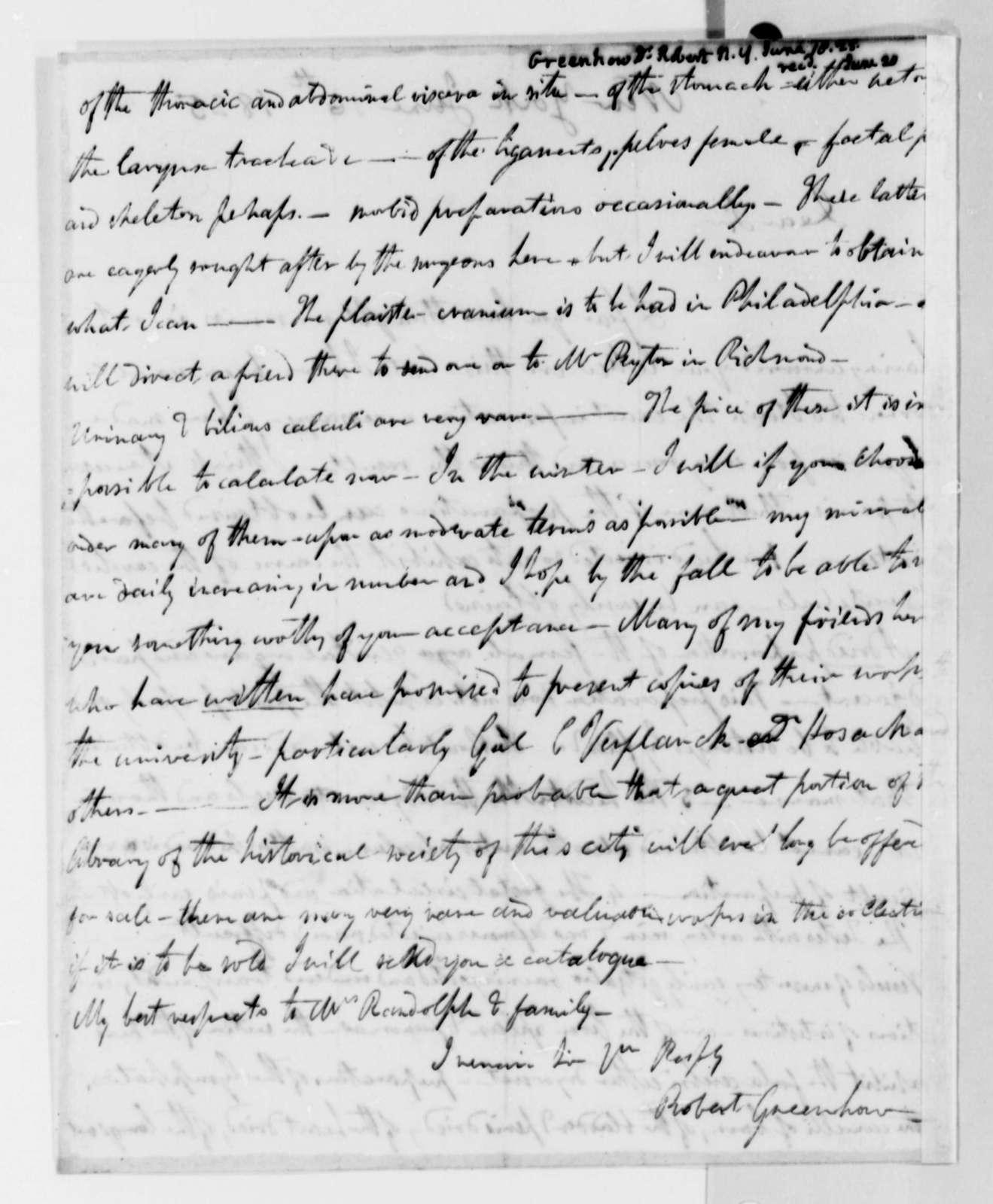 Robert Greenhow to Thomas Jefferson, June 16, 1825