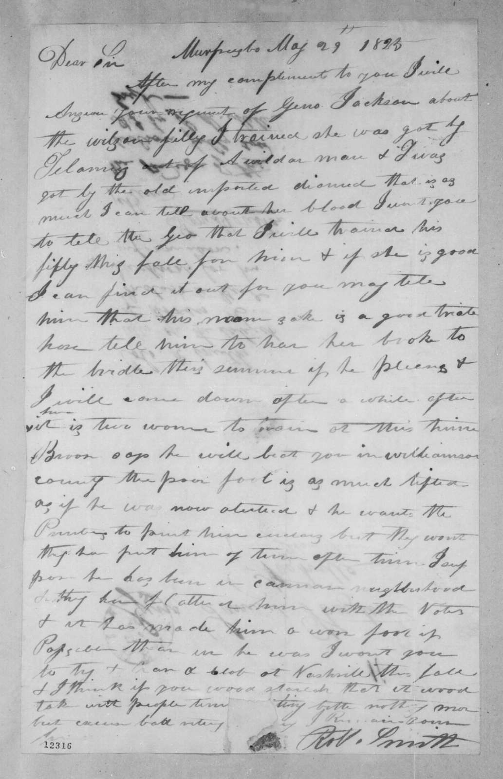 Robert Smith to Samuel Houston, May 29, 1825