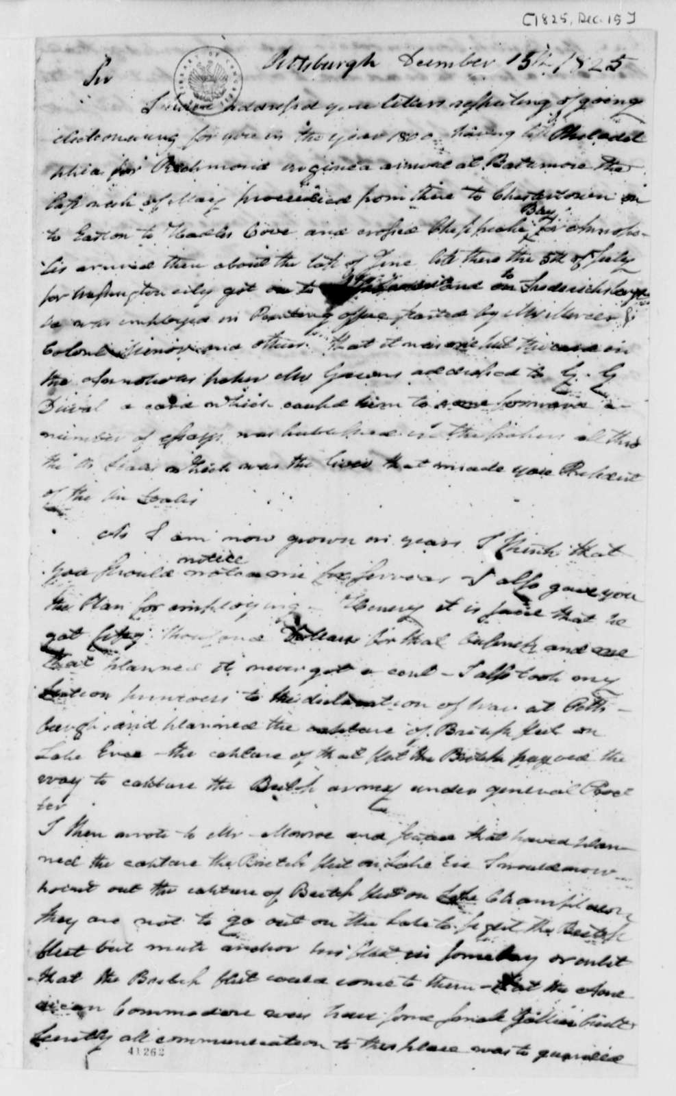 Robert Smith to Thomas Jefferson, December 15, 1825