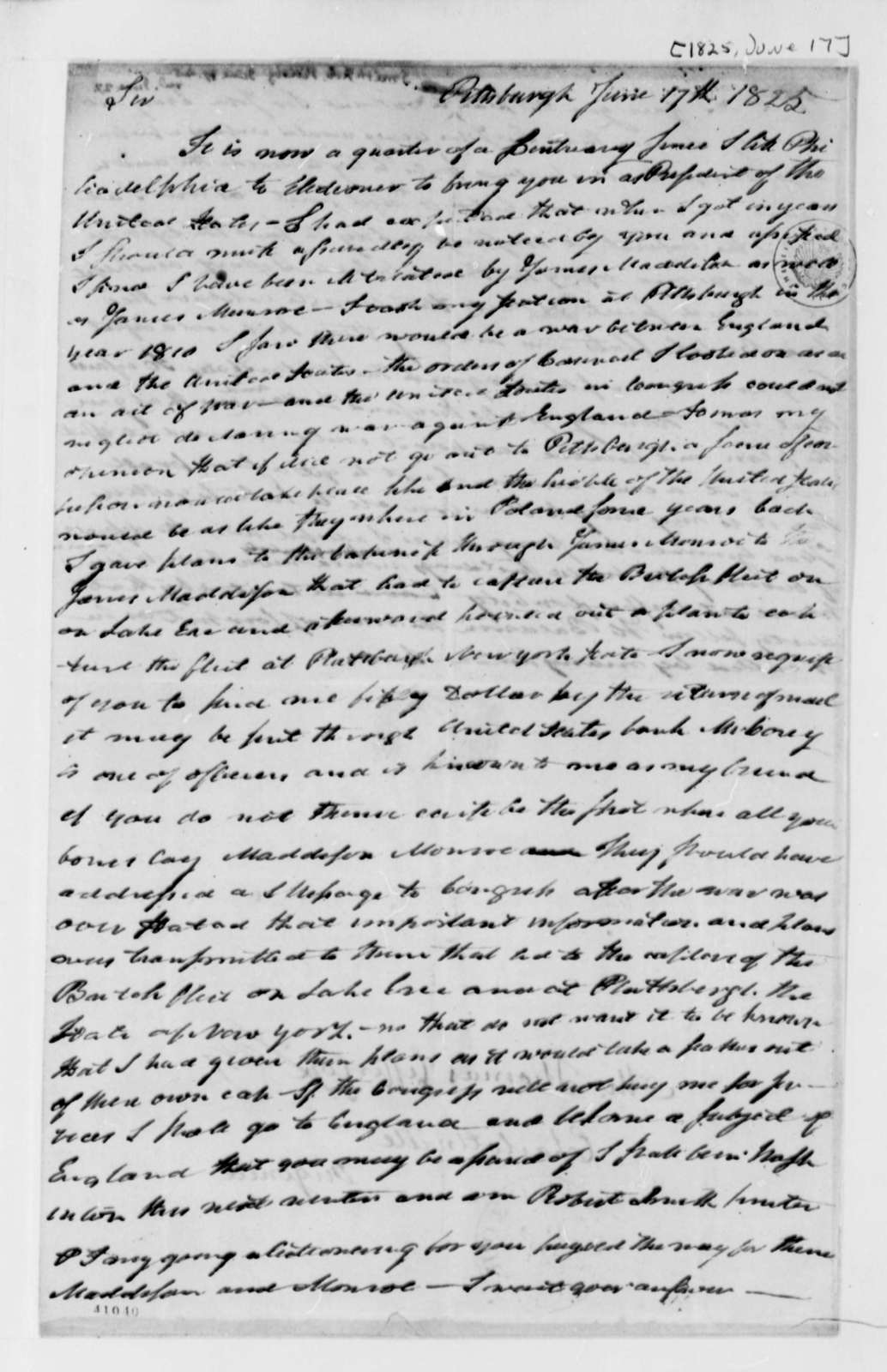 Robert Smith to Thomas Jefferson, June 17, 1825