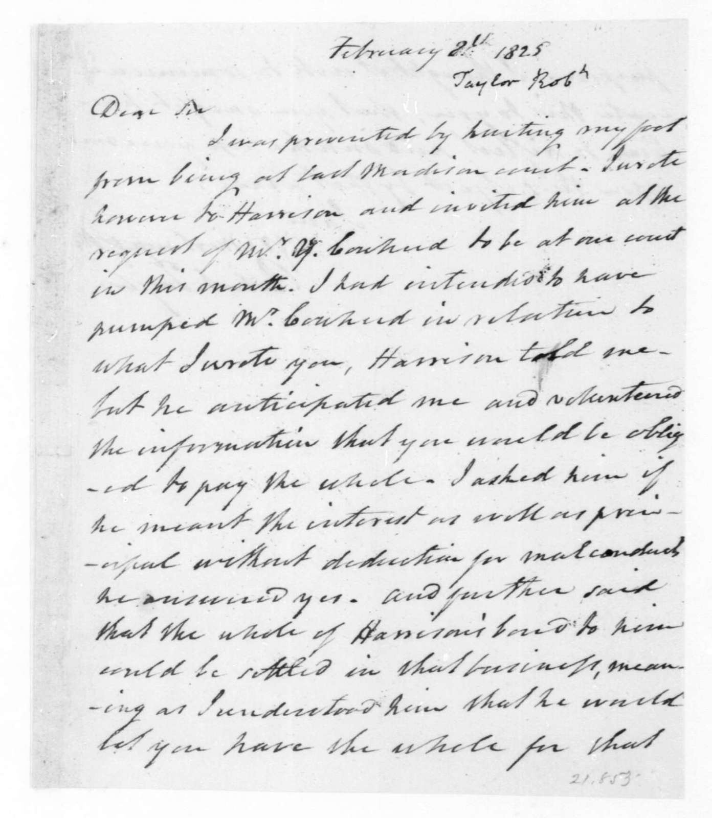 Robert Taylor to James Madison, February 8, 1825.