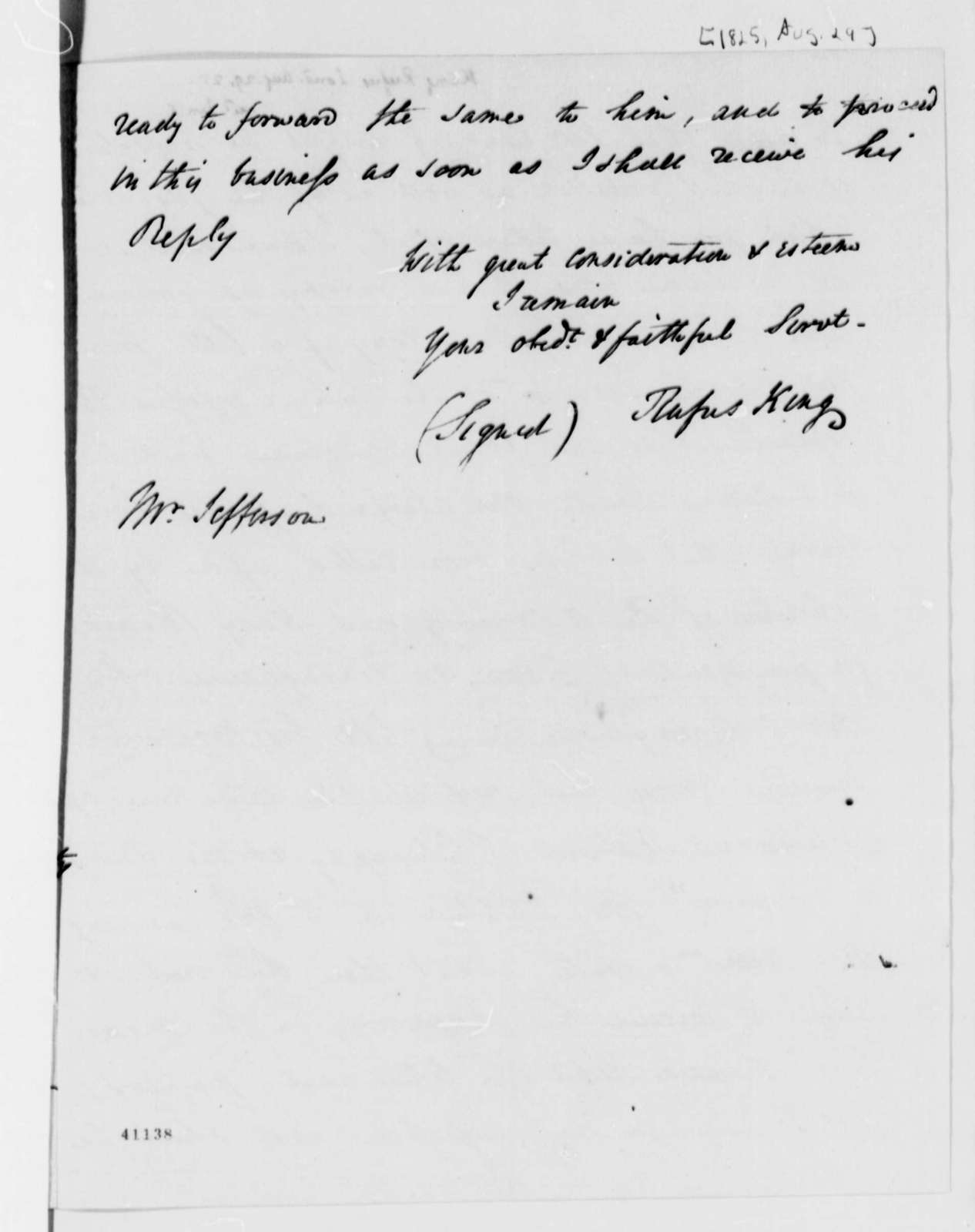 Rufus King to Thomas Jefferson, August 29, 1825