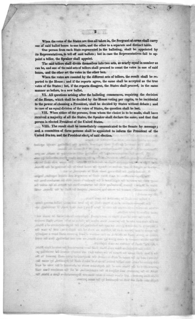 Rules to be observed by the House of Representatives in the choice of a president of the United States. whose term of service is to commence on the fourth day of March, 1825, if the choice shall constitutionally devolve upon the house [March 4,