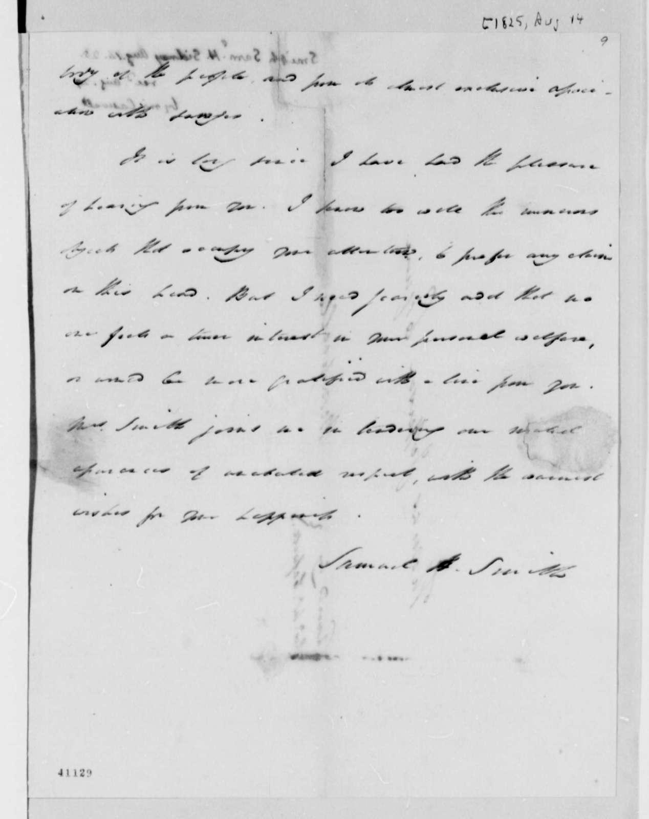 Samuel H. Smith to Thomas Jefferson, August 14, 1825