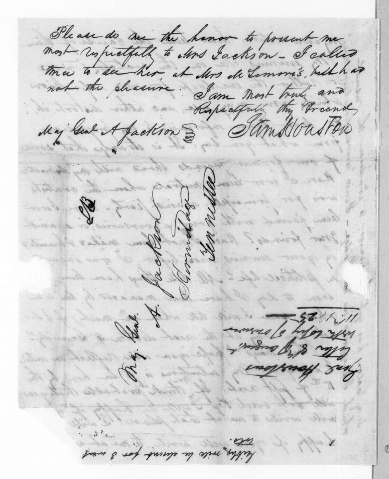 Samuel Houston to Andrew Jackson, August 8, 1825